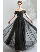 Simple Long Black Sparkly Off Shoulder Prom Dress With Sleeves