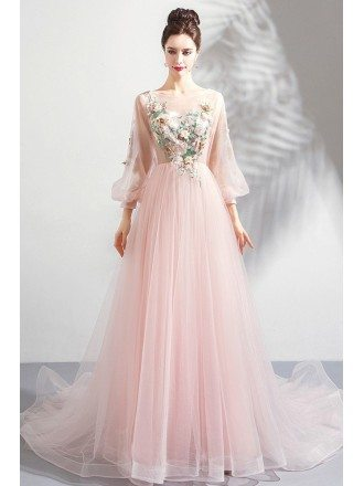 Beautiful Pink Tulle Long Floral Prom Dress With Long Sleeves