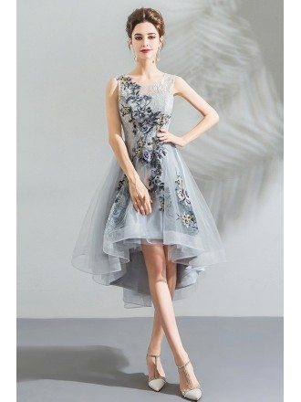 Unique Grey High Low Embroidery Short Party Prom Dress Sleeveless