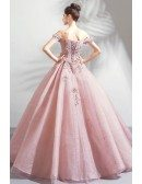 Fairy Off Shouler Pink Ball Gown Formal Prom Dress With Appliques