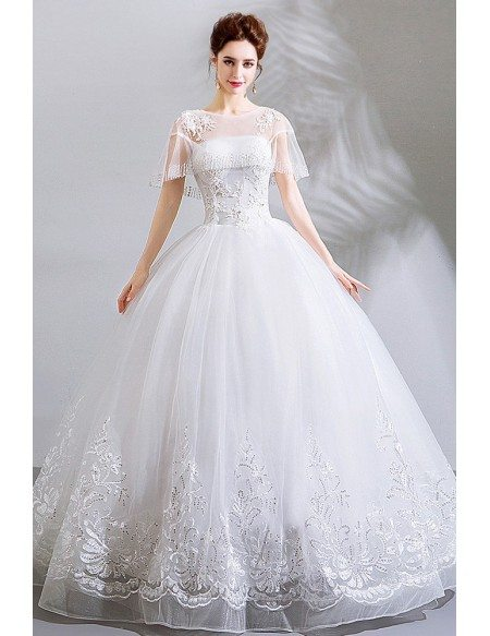 Special Lace Trim White Ball Gown Wedding Dress With Sheer Neckline
