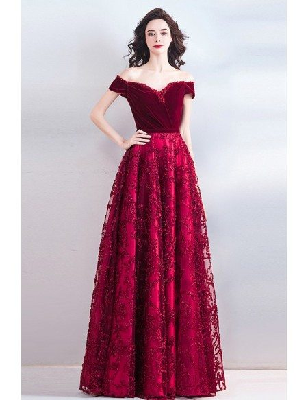 Classy Burgundy Long Formal A Line Prom Evening Dress Off Shoulder