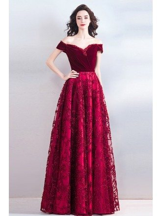 Classy Burgundy Long Formal A Line Prom Evening Dress Off Shoulder
