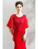 Elegant Long Red Tight Mermaid Formal Dress With Cape Sleeves