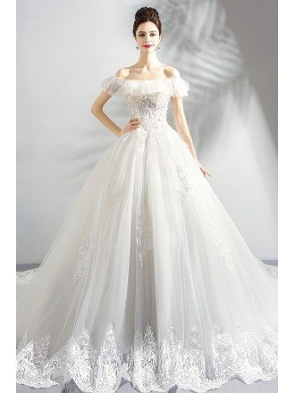 Dreamy White Lace Ball Gown Princess Wedding Dress Off Shouler With Train