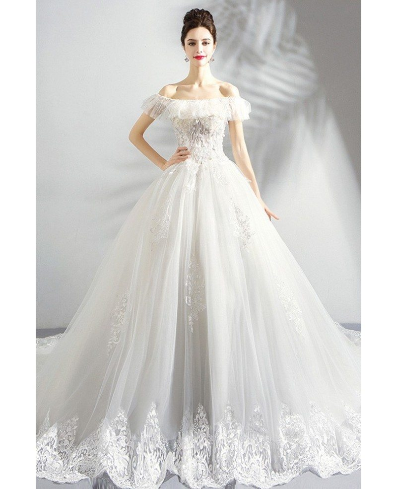 Dreamy White Lace Ball Gown Princess Wedding Dress Off Shouler
