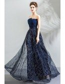 Fancy Dark Navy Sparkly Long Formal Prom Dress Evening Strapless