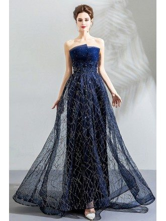 Fancy Dark Navy Sparkly Long Formal Prom Dress Evening Strapless