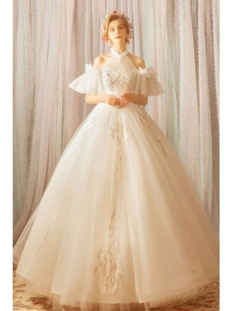 Stunning Fairy White Princess Ball Gown Wedding Dress Halter