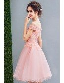 Cute Pink Appliques Short Tulle Prom Dress Off Shoulder