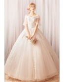 Fancy Unique Beaded Embroidery Ball Gown Wedding Dress With Sleeves