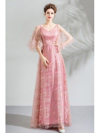 Gorgeous Sparkly Pink Long Prom Party Dress With Cape Sleeves