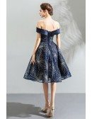Charming Sparkly Navy Blue Short Prom Dress With Off Shoulder