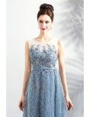 Mistery Dusty Blue A Line Long Prom Dress Sleeveless With Sequins
