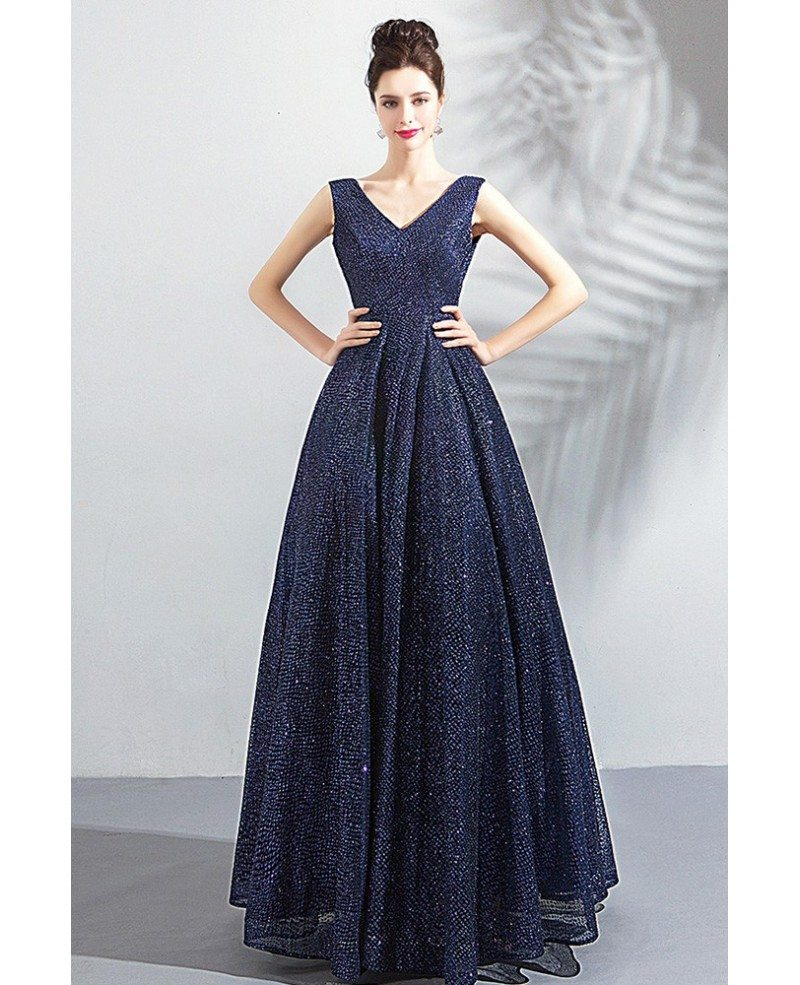 Classy Formal Navy Blue Sparkly Long Prom Dress V Neck Wholesale T69083 Gemgracecom