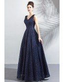 Classy Formal Navy Blue Sparkly Long Prom Dress V-neck