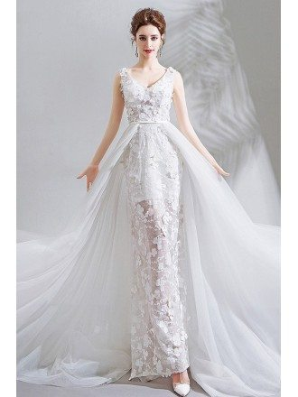 Fairy Pure White Floral Wedding Dress V-neck With Long Train