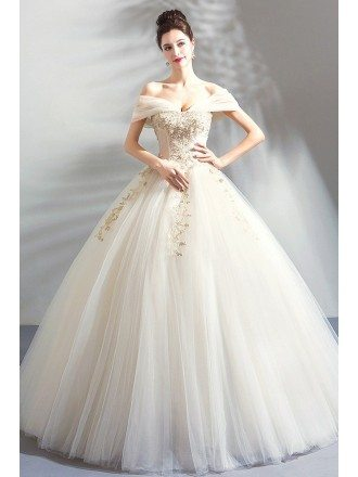 Luxury Embroidery Beige Ball Gown Wedding Dress Princess With Off Shoulder