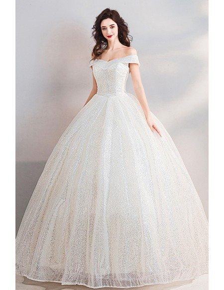 Dreamy Sparkly Sequin Princess Ball Gown Wedding Dress Off Shoulder