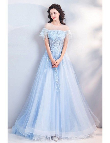 Beautiful Blue Feathers Flowy Long Tulle Prom Dress With Sheer Neckline