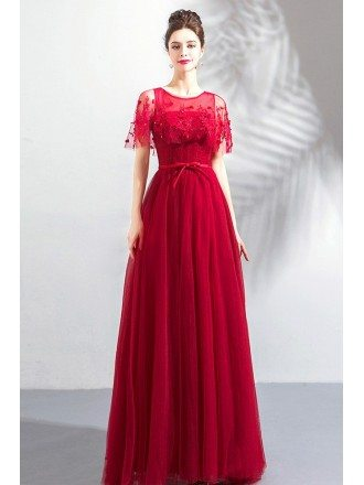 Flowy A Line Long Tulle Burgundy Prom Dress With Cape Sleeves