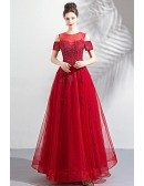 Modest Long Red Appliques Formal Prom Dress With Cold Shoulder Sleeves