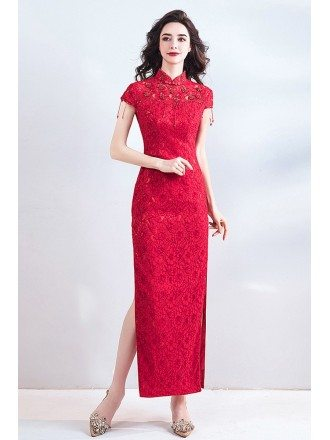 Special Chinese Cheongsam Style Lace Wedding Party Dress Tight Fitted
