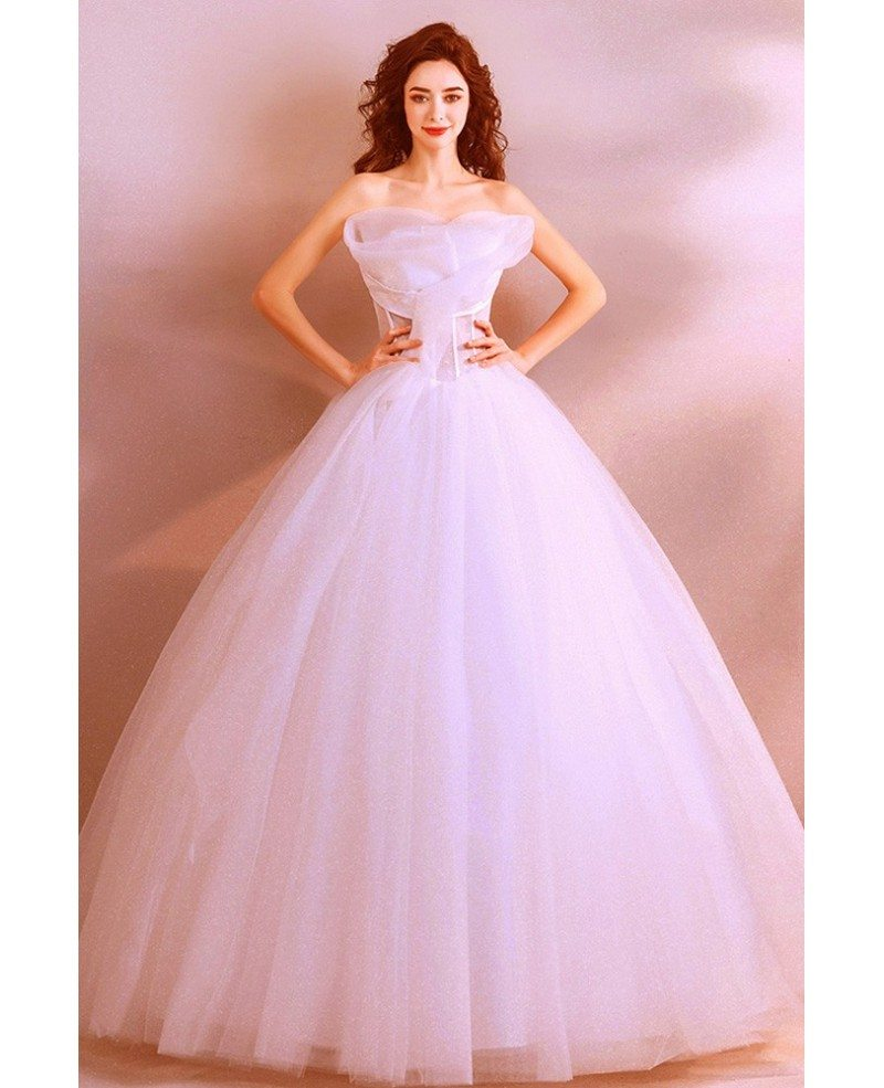 Wedding Gown With Ruffles: Classy White Formal Ball Gown Wedding Dress Princess With