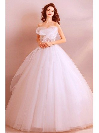Classy White Formal Ball Gown Wedding Dress Princess With Ruffles