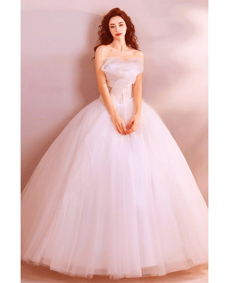 Classy White Formal Ball Gown Wedding Dress Princess With