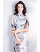 Chinese Retro Cheongsam Tight Qipao Dress With Slit Sleeves