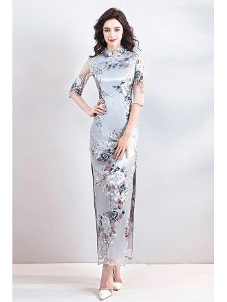 Chinese Retro Cheongsam Tight Qipao Dress With Slit Sleeves