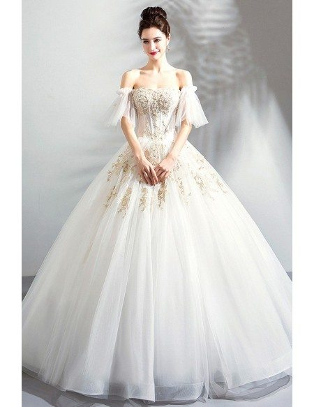Luxury Gold Embroidery Court Wedding Dress Ball Gown Off Shoulder