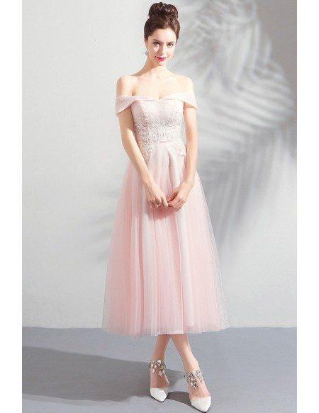Gorgeous Pink Tulle Off Shoulder Tea Length Party Dress Off Shoulder
