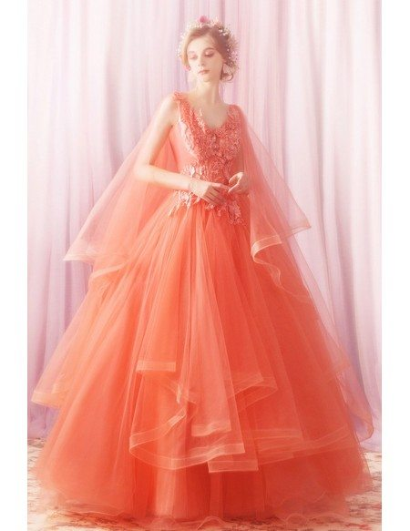 Unique Fairy Coral Orange Long Prom Dress Poofy With Ruffles