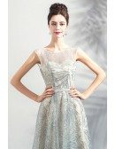 Charming Sparkly Grey A Line Long Prom Formal Dress Sleeveless