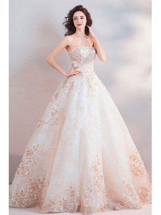Dreamy Floral Embroidery Beige Ball Gown Wedding Dress Strapless