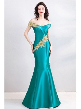 Classy Turquoise Fitted Mermaid Long Formal Dress Off Shoulder