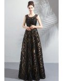 Formal Long Black Unique Lace Prom Dress Sleeveless With Beading