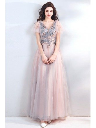 Dreamy Flowy Pink Tulle Long Prom Dress With Flowers Petals