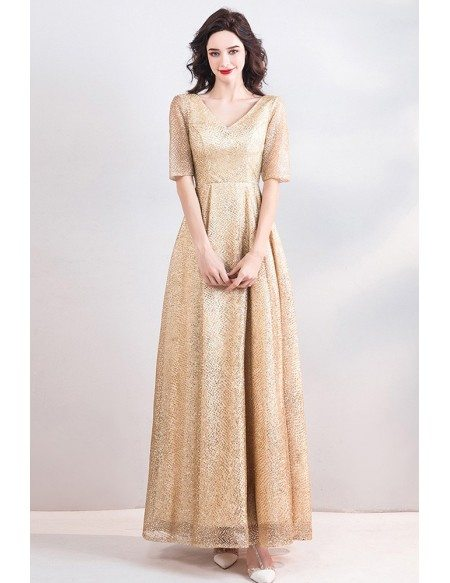 Modest Champagne Gold V-neck Long Formal Dress With Half Sleeves