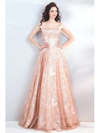Sparkly Rose Pink Formal Long Prom Party Dress With Cap Sleeves