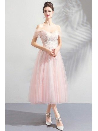 Peachy Pink Tulle Lace Tea Length Wedding Party Dress With Off Shoulder