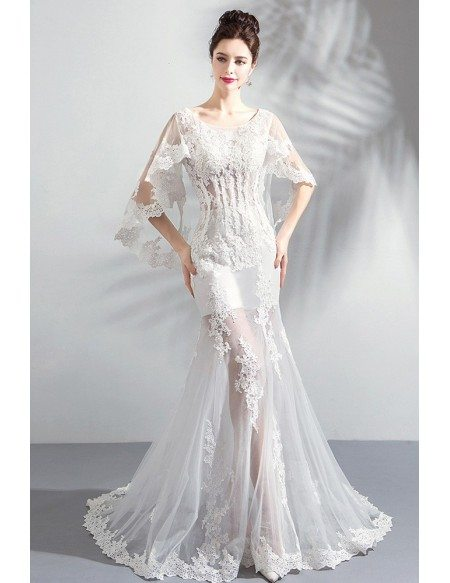 Sexy See Through White Lace Mermaid Wedding Dress With Butterfly Sleeves Wholesale T69105 Gemgrace Com,Pretty Black Dresses For A Wedding