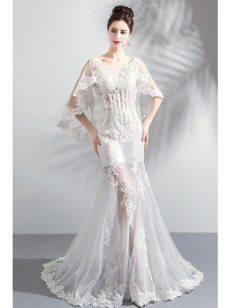 Sexy See Through White Lace Mermaid Wedding Dress With Butterfly Sleeves