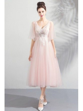 Elegant Peachy Pink Tulle Tea Length Wedding Party Dress With Sleeves