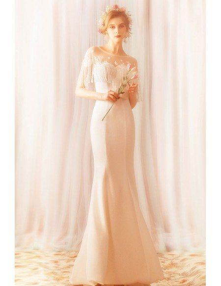 Simple Long White Mermaid Satin Wedding Reception Dress With Tassel Sleeves