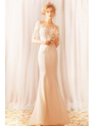 Simple Long White Mermaid Satin Wedding Reception Dress With Tassel Sleeves