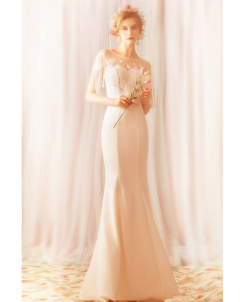 Simple Long White Mermaid Satin Wedding Reception Dress With Tel Sleeves Whole T69108 Gemgrace