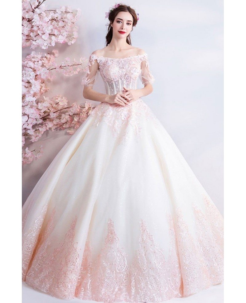 Pink And White Wedding Gowns: Dreamy Princess White And Pink Ball Gown Wedding Dress Off